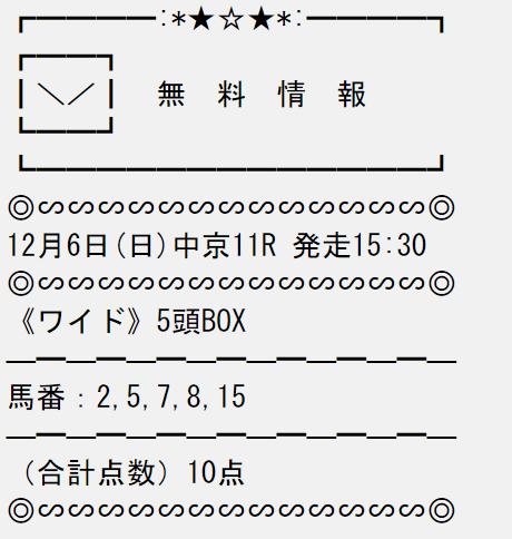 投稿うまライブ_無料予想_12月6日_中京競馬場11R