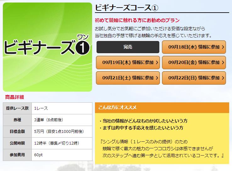 競輪ファンファーレ_有料予想_ビギナーズコース