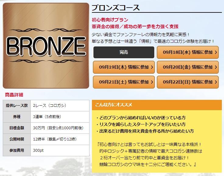 競輪ファンファーレ_有料予想_ブロンズコース