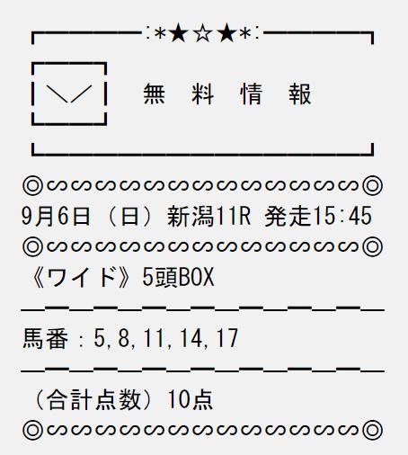 投稿うまライブ_無料予想_9月6日