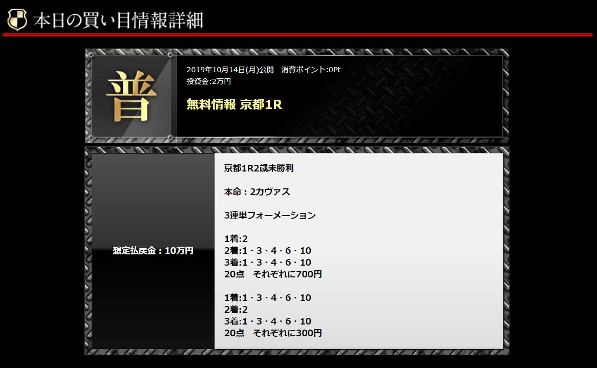 リーク馬券_無料予想_1014京都1R