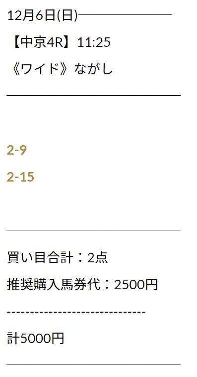 ユニコーン_無料情報_12月6日_中京競馬場4R