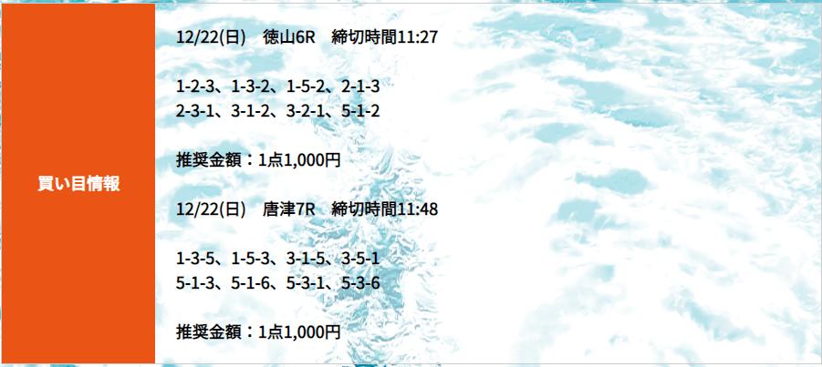 競艇道_無料予想_20191222_買い目