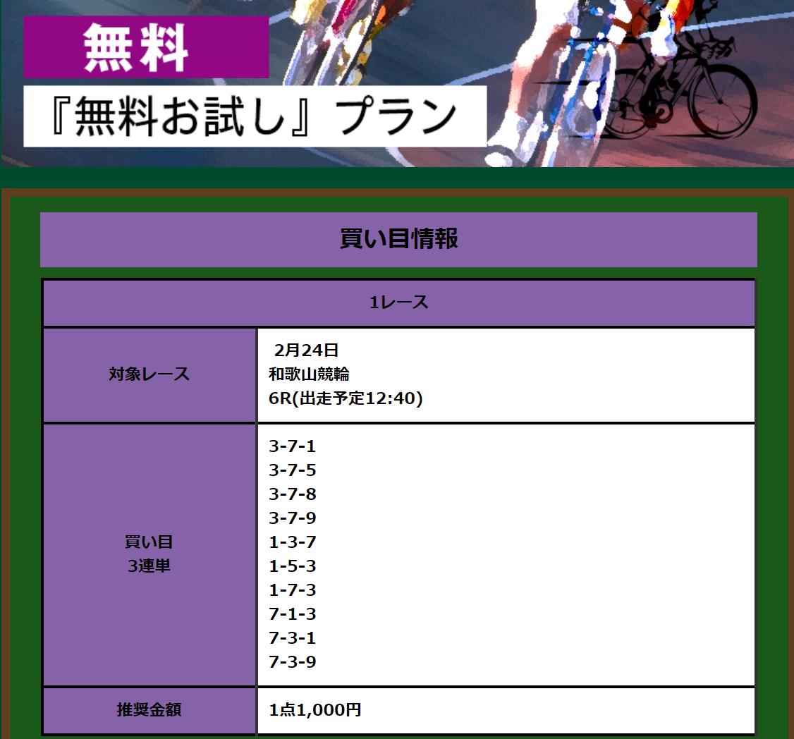 全力ペダル_無料情報_20200224_和歌山6R_買い目