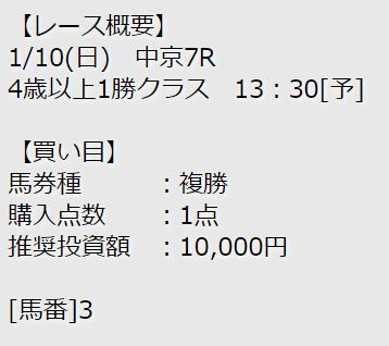 競馬予想シャーロック_無料情報_複勝_2021年1月10日