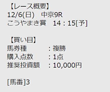 競馬予想シャーロック_無料予想_12月6日_中京9R