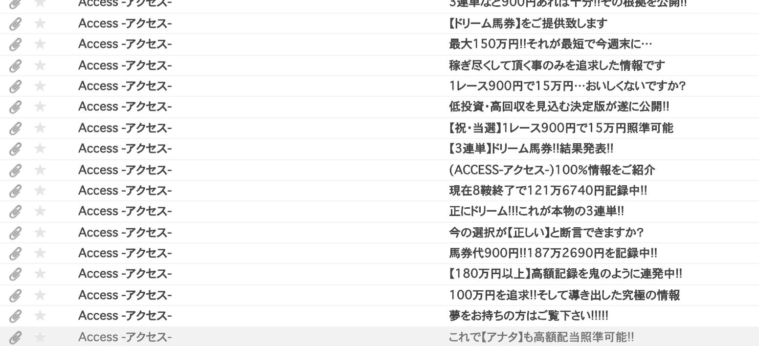 競馬予想アクセスからのメール
