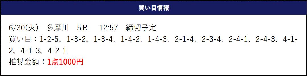 競艇トップ_無料予想_6月30日_多摩川5R