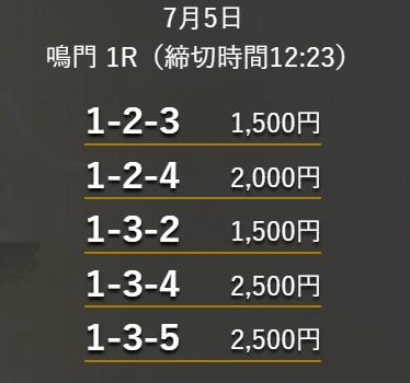 ジャックポット_無料予想_7月5日_鳴門競艇場1R