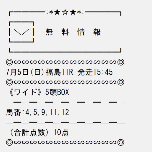 投稿ライブ_無料予想_7月5日_福島競馬場11R