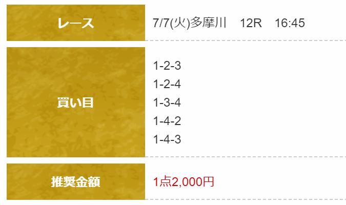船国無双_無料予想_7月7日_多摩川競艇場12R