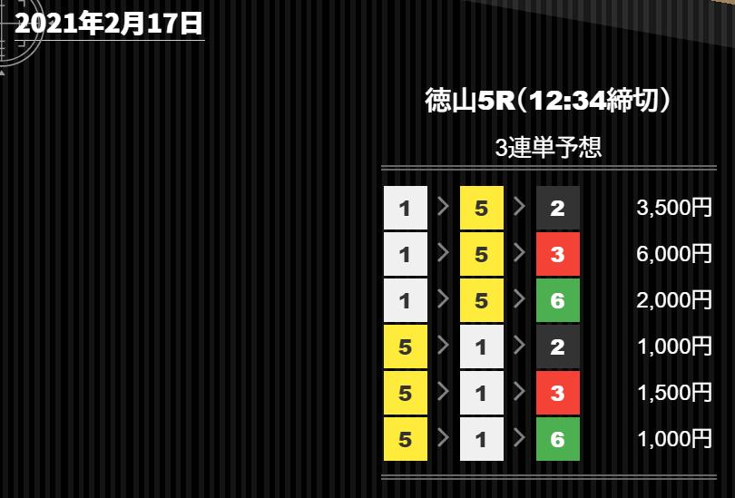 競艇バレット_無料情報_20210217_徳山競艇場5R