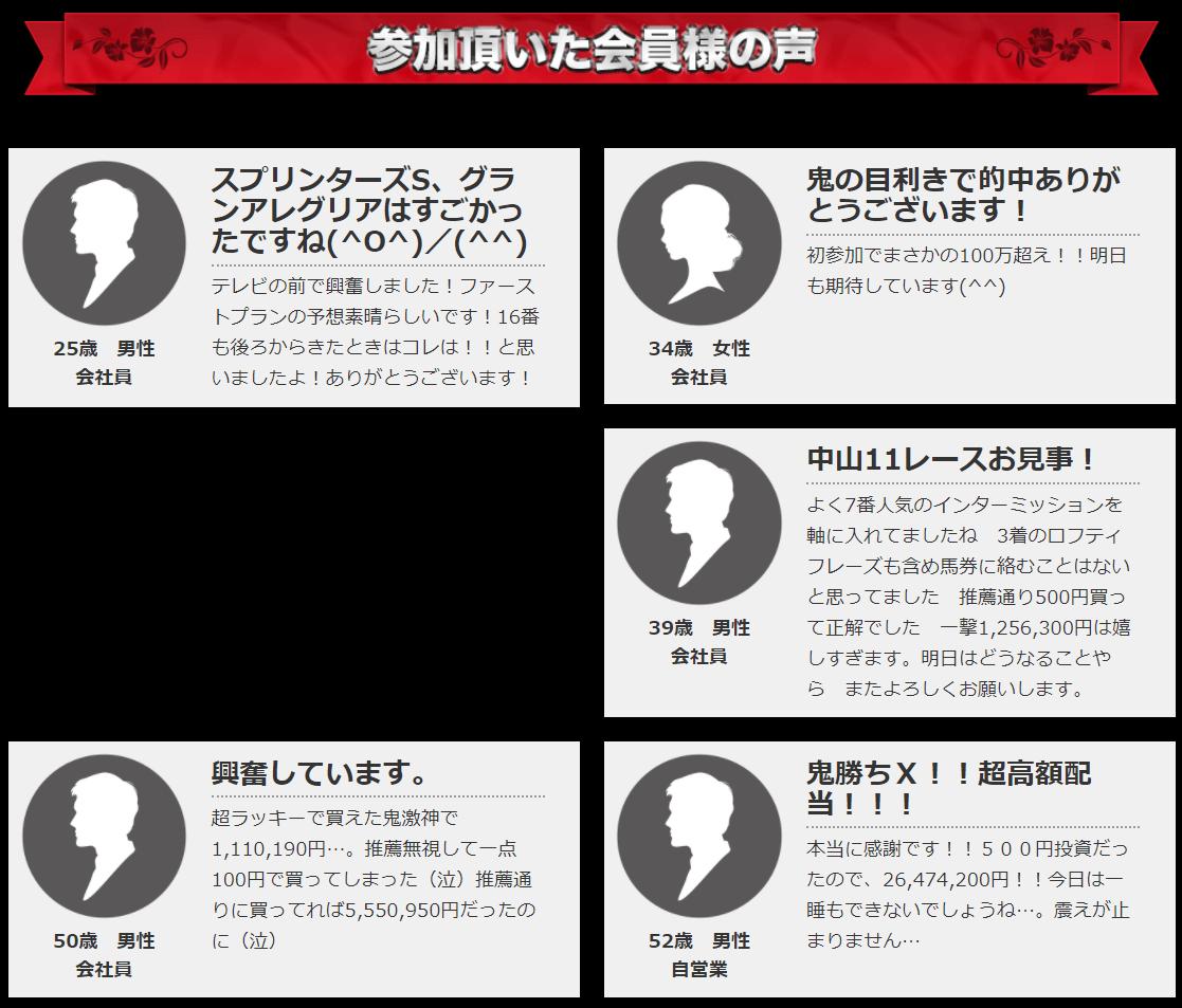 鬼勝ち馬券情報局_口コミ・評判