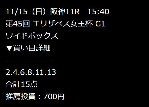 鬼勝ち馬券情報局_無料予想_2020年11月15日_阪神11R