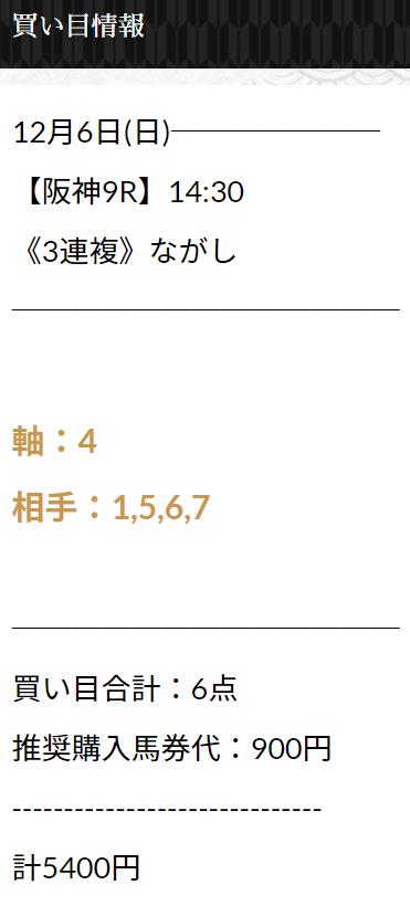 にのまえ_無料予想_12月6日_阪神競馬場9R