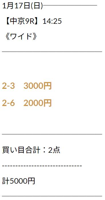 にのまえ_無料情報_2021年1月17日_中京9R