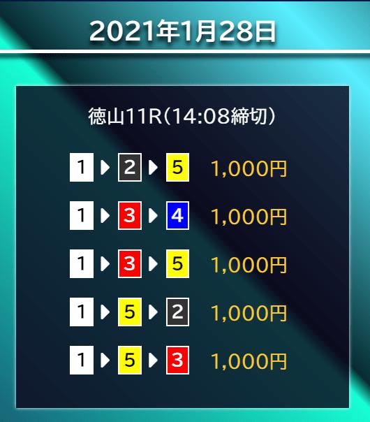 競艇サラリーマン_無料情報_2021年1月28日_徳山競艇場11R