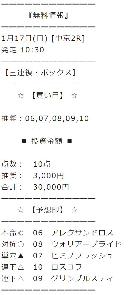 馬貴族_無料情報_2021年1月17日_中京2R