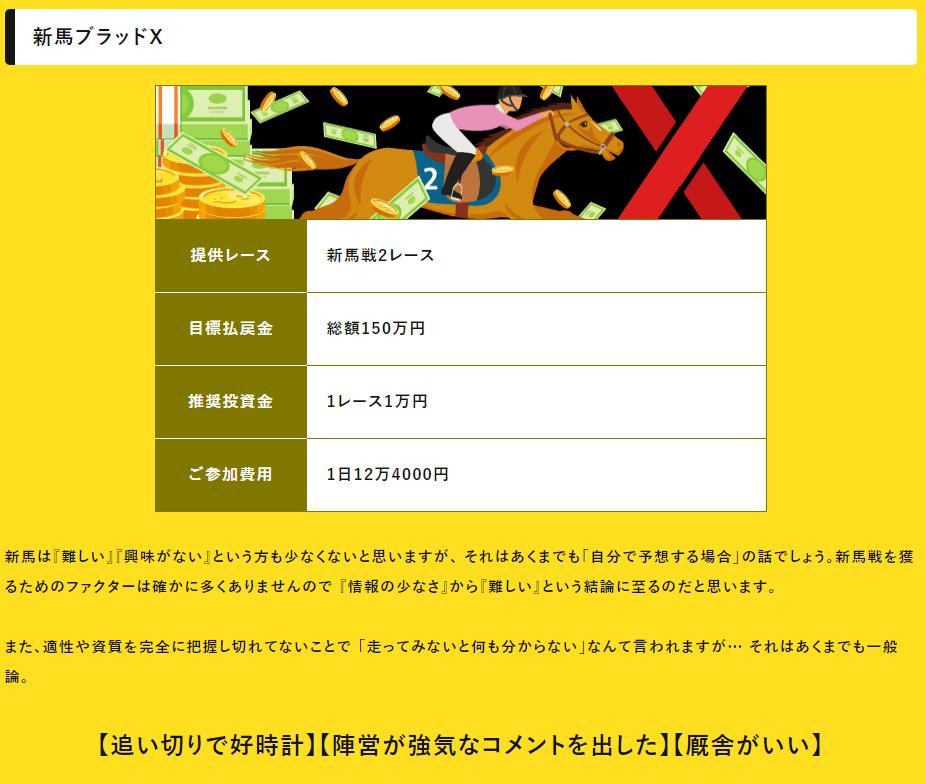 eco競馬_有料予想_新馬ブラッドX
