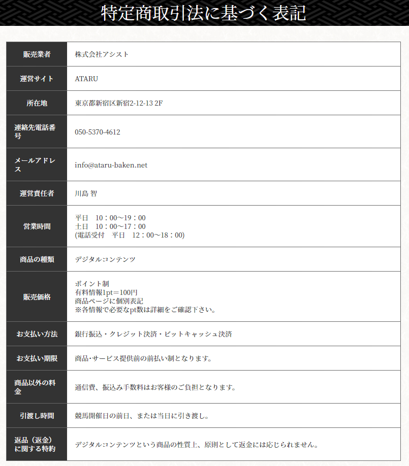 ATARU(アタル)_運営情報