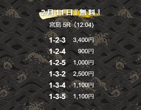 舟王_無料情報_2021年2月11日