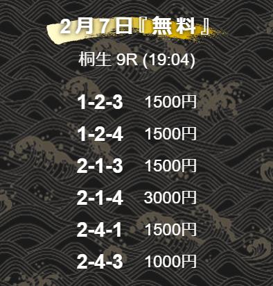舟王_無料予想_2021年2月7日_ナイター