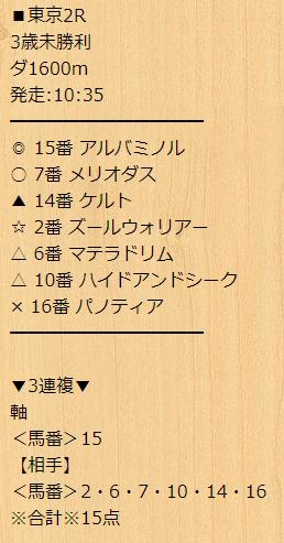 宝馬_無料情報_20210509_東京競馬場2R