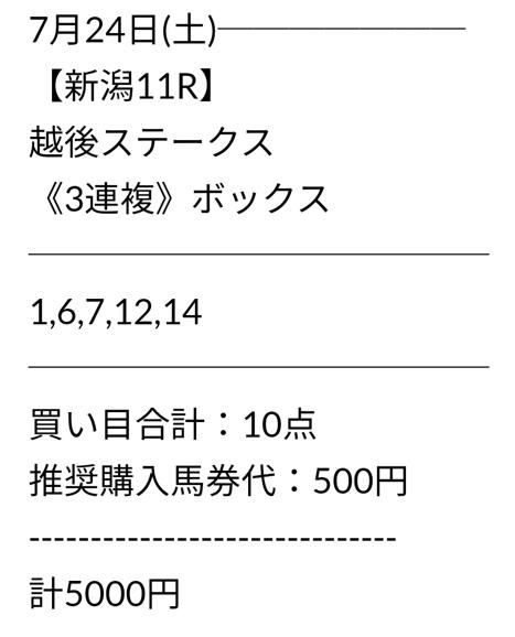 ウマニキ_無料情報_20210724_買い目